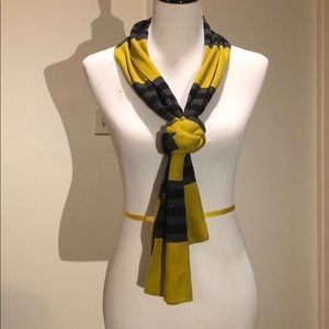 Accessories - Green scarf with gray and black stripes
